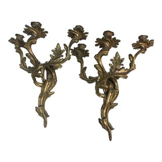 Antique Bronze Candle Sconces - A Pair