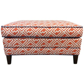 Vintage Orange & White Ottoman
