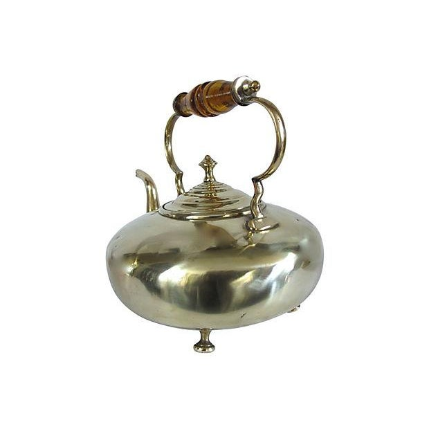 Image of Antique Glass Handle English Brass Tea Kettle