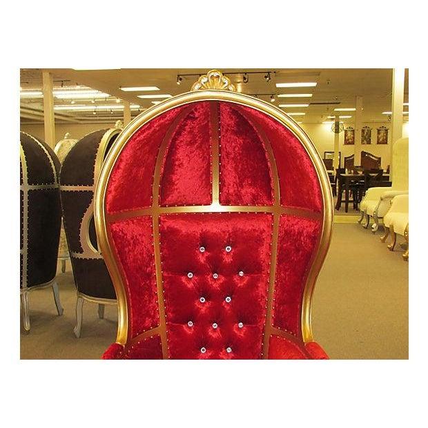 High-Back Velvet Canopy Chair - Image 4 of 8