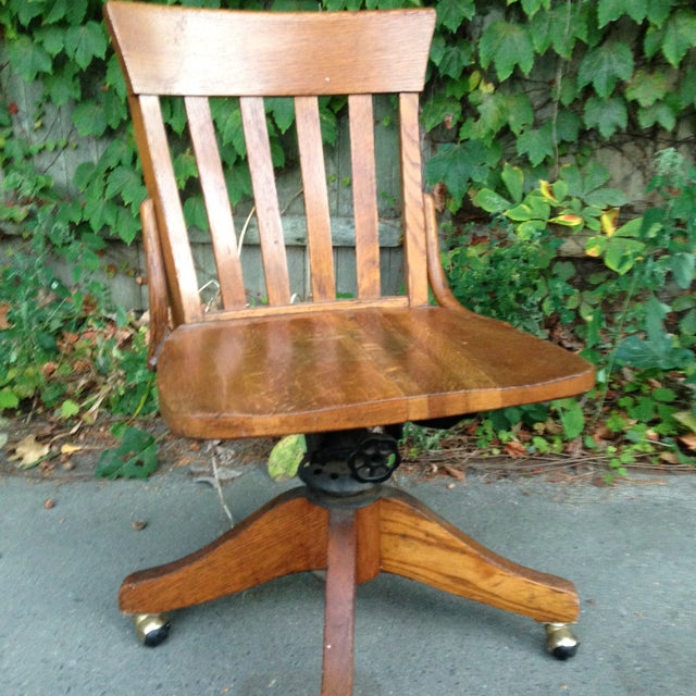 Antique Wood Office Swivel Chair - Image 3 of 9