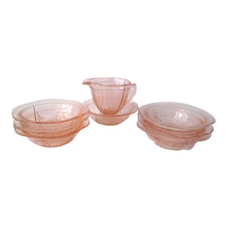Blush-Pink Berry Bowls With Creamer - Set of 8