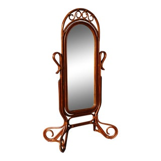 Mid Century Bent Rattan Cheval Mirror