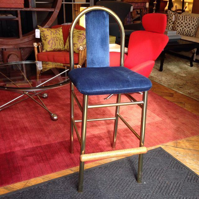 Brass Barstool With Blue Upholstered Seat - Image 2 of 6