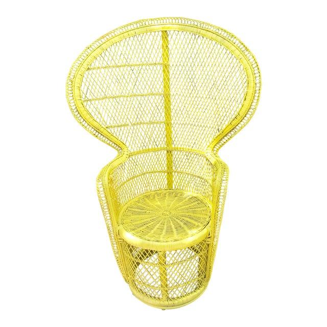 Mid-Century Rattan Wicker Fan-Back Peacock Chair - Image 1 of 9