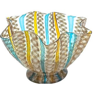 Antique Murano Folded Glass Bowl