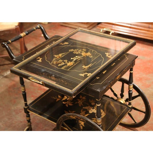 Early 20th Century French Chinoiserie Hand Painted Bar Cart - Image 6 of 10