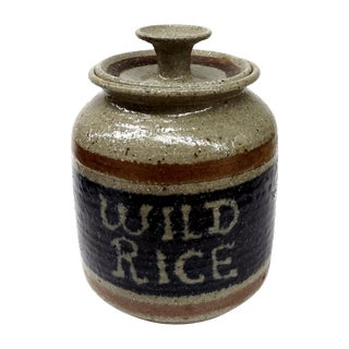 Hand Turned Pottery Wild Rice Container