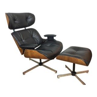 Plycraft Black Leather Lounge Chair and Ottoman