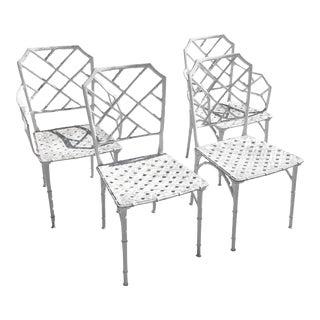 Vintage Brown Jordan Calcutta Faux Bamboo Patio Chairs - Set of 4