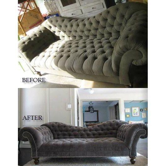 Charcoal Tufted Inverted Camelback Sofa - Image 6 of 6
