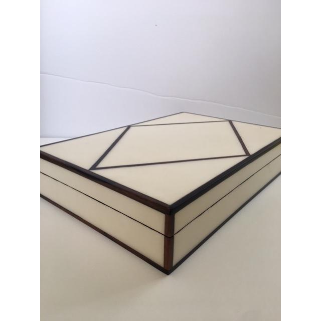 Contemporary Cream Parchment & Ebony Trim Box - Image 4 of 5