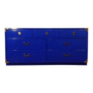 Thomasville Mid Century Modern Campaign Lacquered Blue Dresser. Vintage   Used Dressers   Chairish