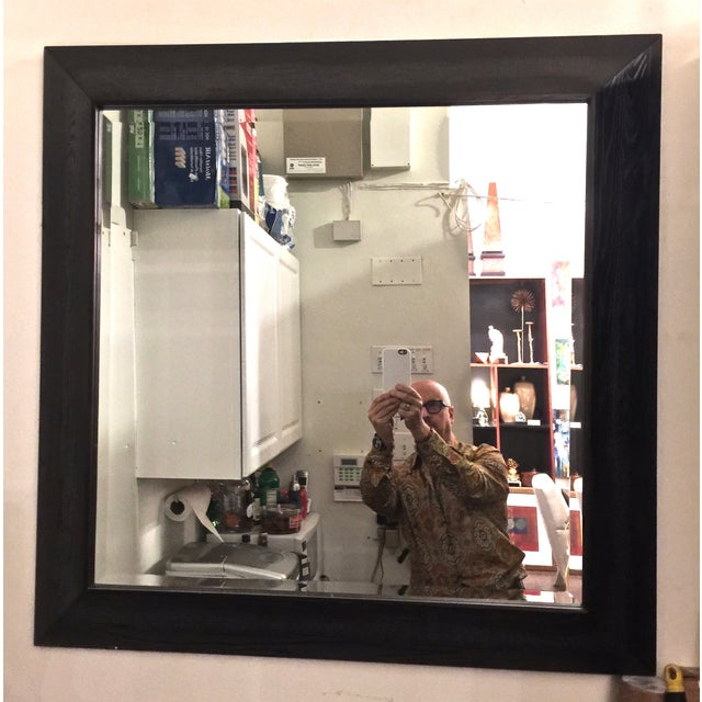 Modern Large Beveled Dark Wood Frame Mirror - Image 2 of 6