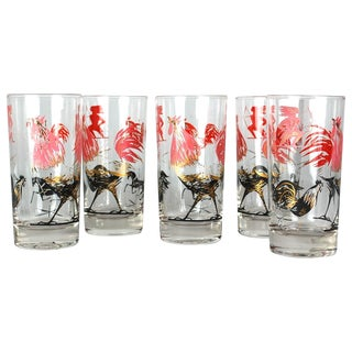 Mid-Century Rooster Highball Glasses - Set of 5
