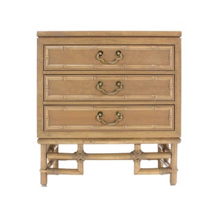 Faux Bamboo Three Drawer Petite Beige Lacquer Chest Dresser Brass Pulls