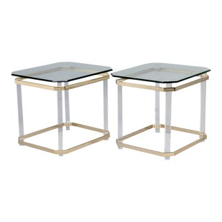 Mid Century Lucite Brass & Glass Side Tables - a Pair