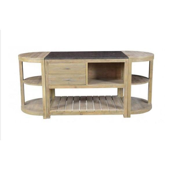 Image of Large Rustic Wood 3 Piece Oval Kitchen Island
