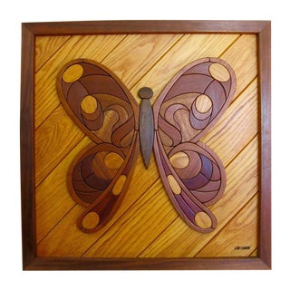 Dave Criner Inlaid Hard Wood Butterfly Wall Art