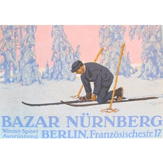 Original 1927 Lithographic Mini Poster/Ski Bazar