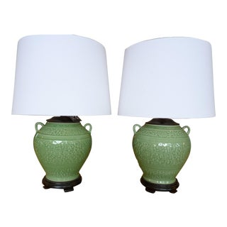 Celadon Green Ceramic Glazed Table Lamps- Pair