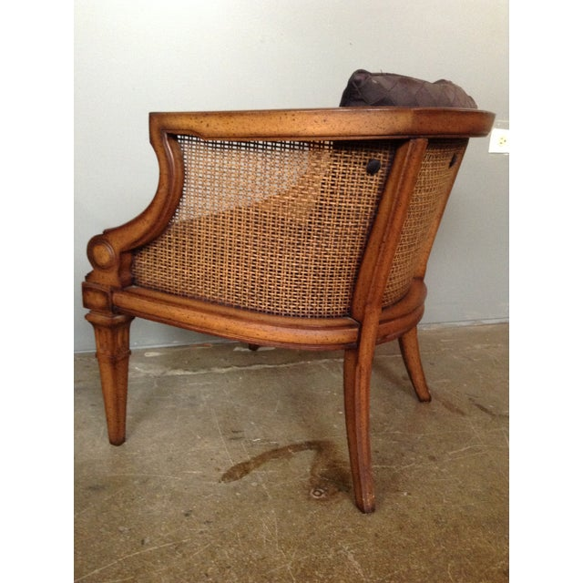 Caned and Upholstered Barrel Back Lounge Chair - Image 6 of 10