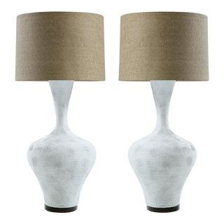 Textured Ceramic Sculptural Lamps - A Pair
