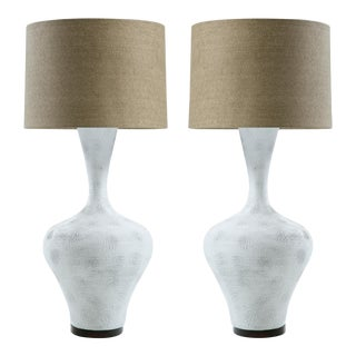 Textured Ceramic Sculptural Lamps - A Pair