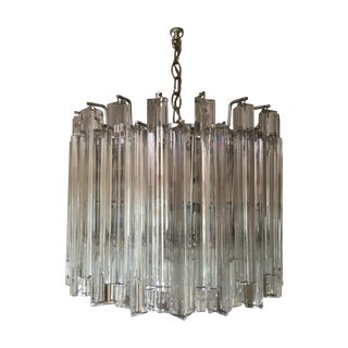 Venini Italian Clear Murano Glass Chandelier