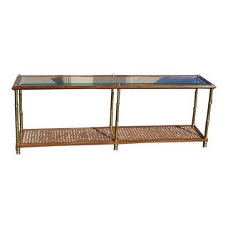 Mid-Century Modern Cane, Oak & Brass Console Table