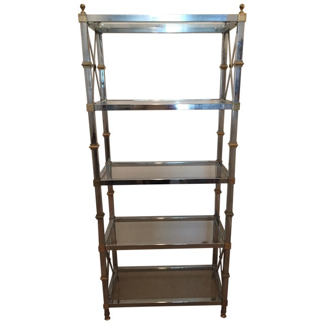 maison jansen style chrome brass etagere chairish. Black Bedroom Furniture Sets. Home Design Ideas