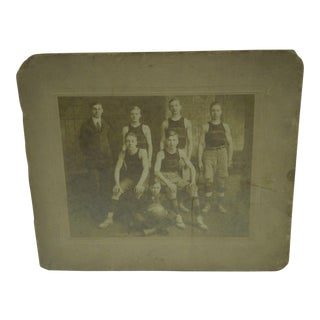 1913-1914 Garfield Basketball Team Black & White Photograph