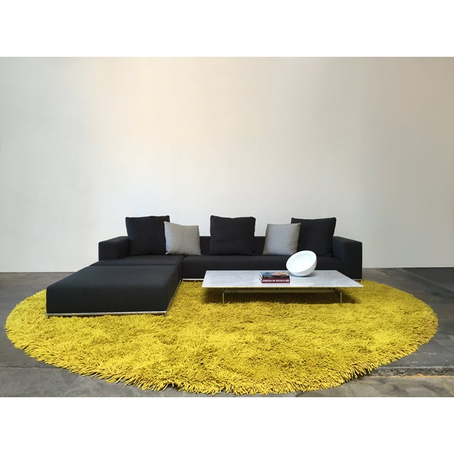 """Image of New Zealand Wool Chartreuse Round Shag Rug -14'3"""""""