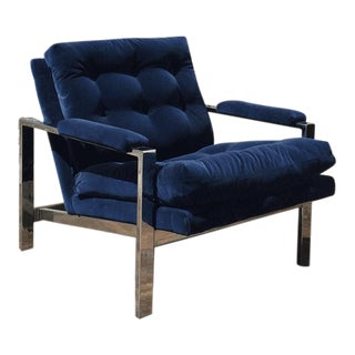 Milo Baughman Blue Velvet Club Chair