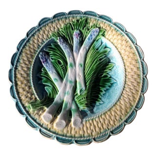 Antique Majolica French Salins Asparagus Plate