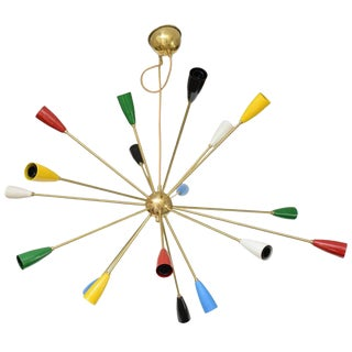 Sputnik Brass Chandelier with 18 Shades