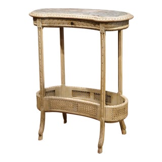 19th Century French Louis XVI Carved & Painted Kidney Table with Marble Top