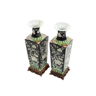 Chinese Famille Noire set of 2 Beautiful porcelain Vases