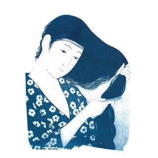 Japanese Geisha Combing Hair Cyanotype