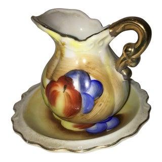 Vintage Porcelain Fruit Motif Creamer & Dish - A Pair