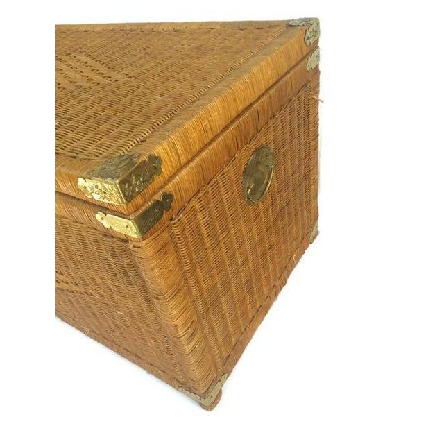 Wicker Storage Trunk Coffee Table: Vintage Rattan Trunk Wicker Chest Brass Hardware Bohemian