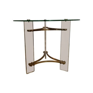 Charles Hollis Jones Lucite And Brass End Table