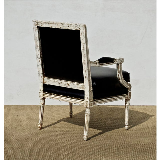 Vintage Black & White Louis XVI Bergere Chairs - A Pair - Image 6 of 9