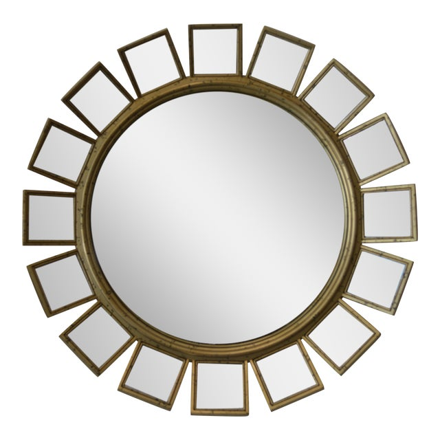 Silver Leaf & Mirrored Sunburst Wall Mirror - Image 1 of 5