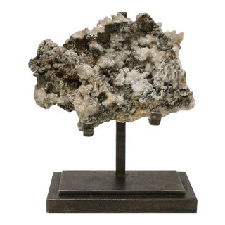 1900s Rock Crystal With Metallic Deposits Mounted on a Custom Maurice Beane Studios Stand