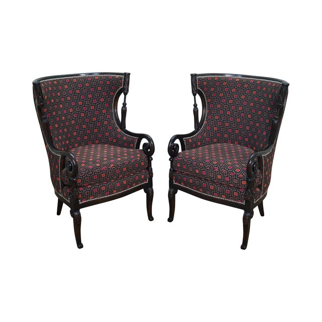 Carved Fire Side Barrel Back Wing Chairs - Pair - Image 1 of 10