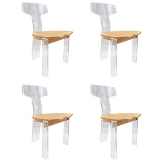 Four Sculptural Lucite and Oak Dining Chairs