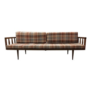 Mid-Century Plaid Upholstered Walnut Daybed