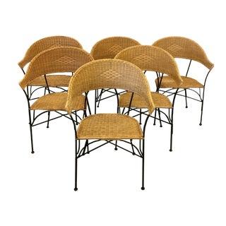 1960s Arthur Umanoff Style Mid Century Modern Rattan & Iron Chairs - S/6