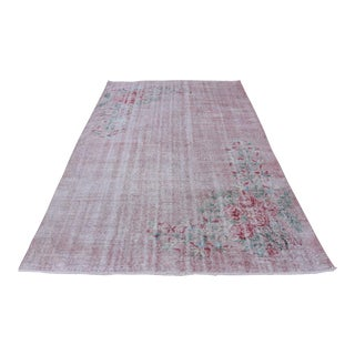 Antique Handmade Faded Area Rug - 5′8″ × 8′7″